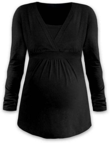 Kojící i těhotenská tunika ANIČKA s dlouhým rukávem - černá