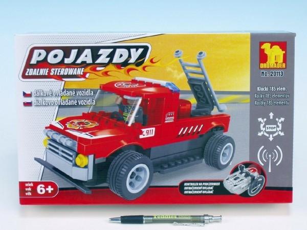 Stavebnice Dromader Auto RC Hasiči 20113 na vysílačku na baterie 185ks v krabici 34x2