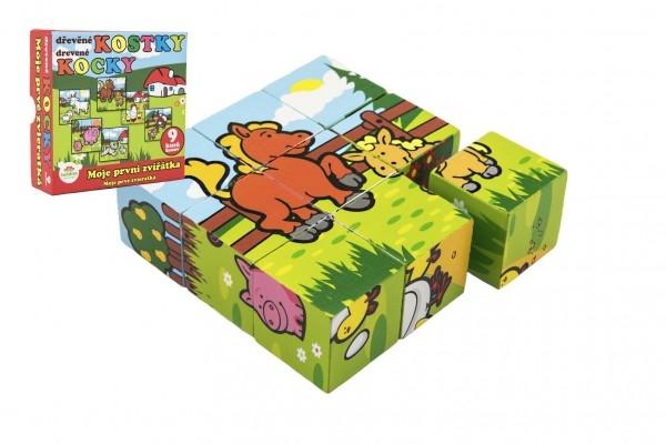 Kostky kubus Moje první zvířátka dřevo 9x9x3cm 9ks v krabičce 11x11x6cm 12m+ MPZ
