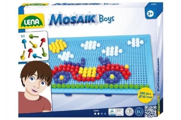 Mozaika pro kluky klobouček 1cm 200ks v krabici 33x24x3,5cm