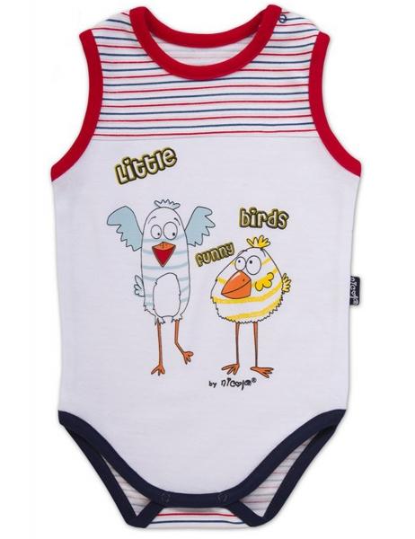 Body na ramínko Little Funny Birds - bílá/čevenomodrý proužek, VÝPRODEJ