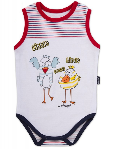 Body na ramínko Little Funny Birds - bílá/čevenomodrý proužek, VÝPRODEJ, Velikost: 98 (24-36m)