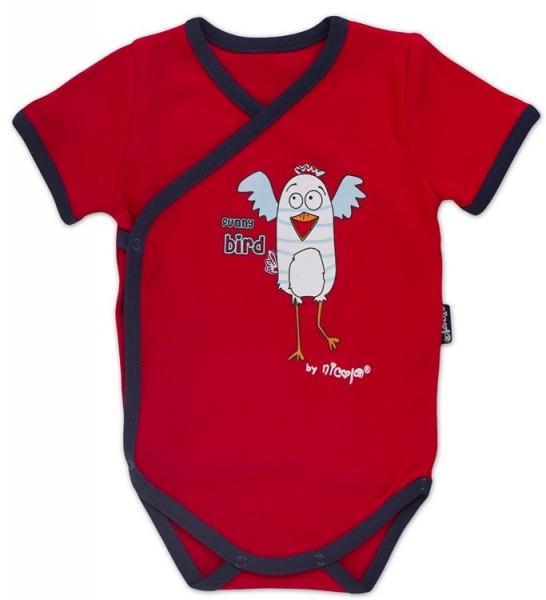 Body kr.rukáv zap. bokem s potiskem Little Funny Birds - červená, VÝPRODEJ, Velikost: 62 (2-3m)