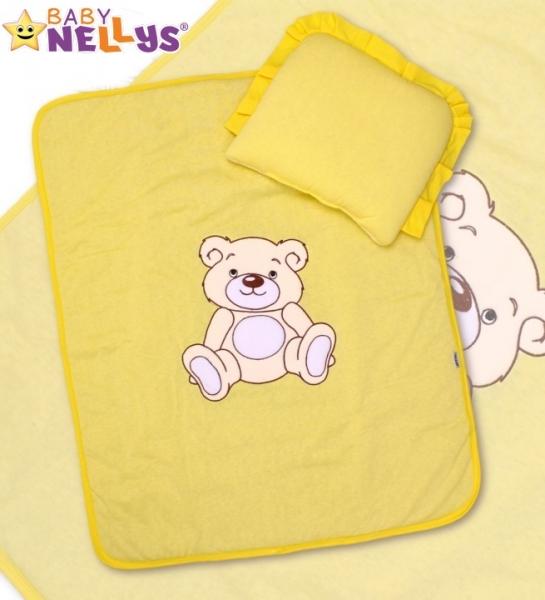 Baby Nellys 2-dílná sada do kočárku jersey Medvídek Teddy Bear - krémově žlutá