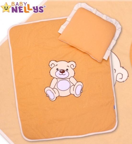 Baby Nellys 2-dílná sada do kočárku jersey Medvídek Teddy bear - broskvová