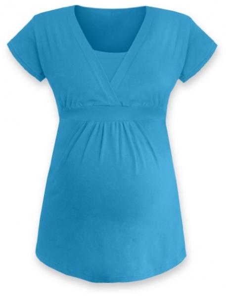 Kojící, těhotenská tunika ANIČKA krátký rukáv - tyrkys, Velikost: L/XL