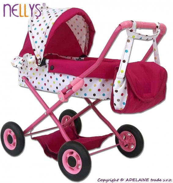 Mini kočárek pro panenky - Puntíky (barva: bílá/růžová)