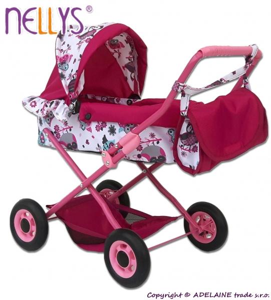 Mini kočárek pro panenky ANIČKA - Sovičky (barva: růžová/bílá)