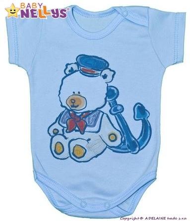 Body kr. rukáv  Baby Nellys ® - Medvídek - námořník - modré, Velikost: 86 (12-18m)