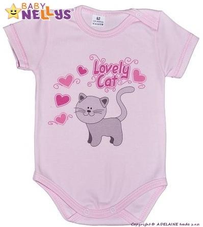 Body kr. rukáv  Baby Nellys ® - Roztomilá kočička - sv. růžové, Velikost: 68 (4-6m)