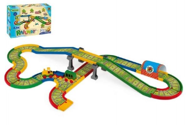 Dráha Kid Cars - Železnice s městem 4,1m v krabici 59x40x15cm Wader