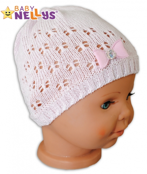 Háčkovaná čepička Mašlička Baby Nellys ® - s flitry