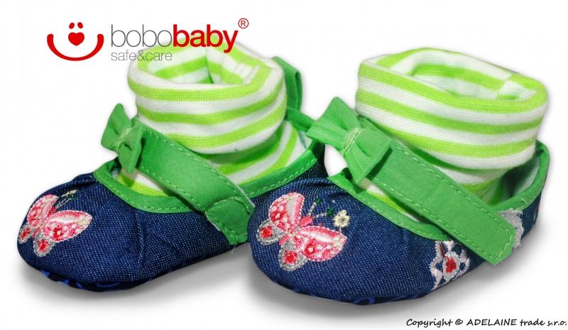 Balerínky capačky/botičky BOBO BABY - jeans/zelené