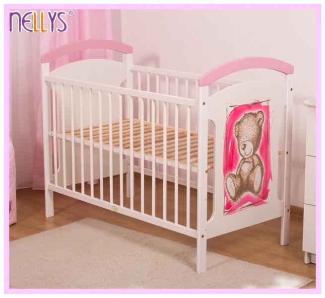 Dřevěná postýlka TEDDY Nellys - růžová/bílá, Velikost: 120x60