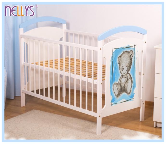Dřevěná postýlka TEDDY Nellys, 120 x 60 cm - modrá/bílá