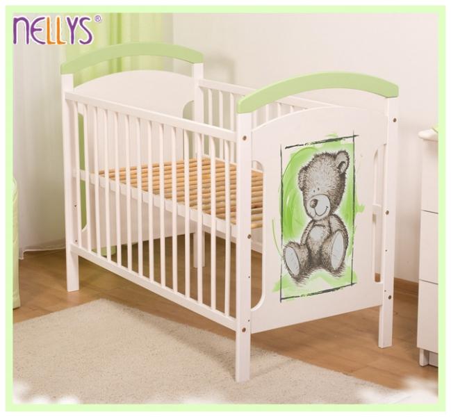 Dřevěná postýlka TEDDY Nellys, 120 x 60 cm - zelená/bílá