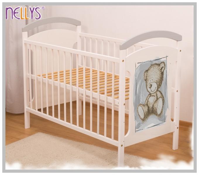 Dřevěná postýlka Teddy Nellys - šedá/bílá, Velikost: 120x60