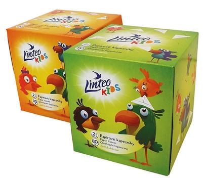 LINTEO BABY Papírové kapesníky Linteo Kids BOX 80ks, bílé, 2-vrstvé