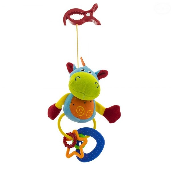 Euro Baby Plyšová hračka s klipsem a chrastítkem  - Hippo, Ce19