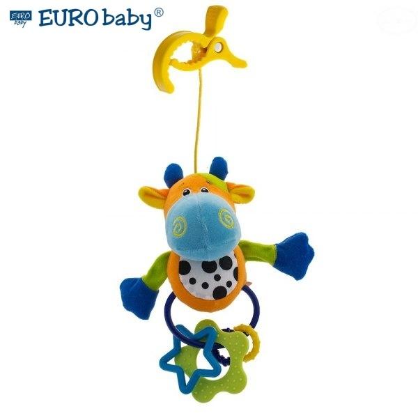 Euro Baby Plyšová hračka s klipsem a chrastítkem  - Kravička, Ce19