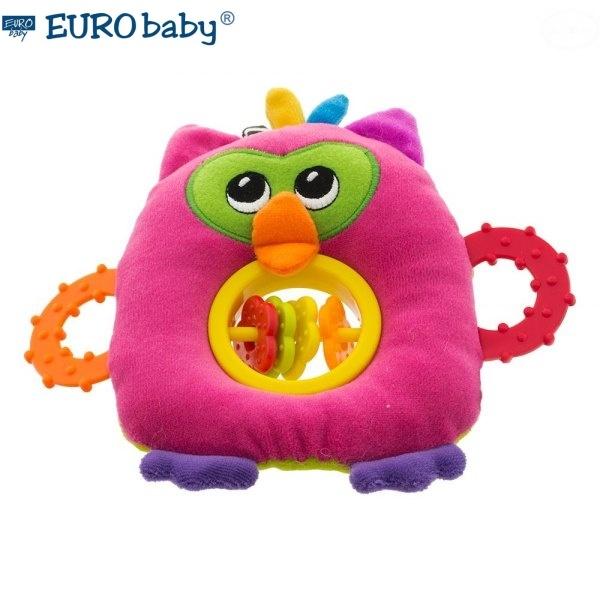 Euro Baby Plyšová hračka s kousátkem a chrastítkem  - Sovička - růžová, Ce19