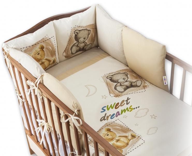 Baby Nellys Povlečení s polštářkovým mantinelem Sweet Dreams by TEDDY - piskový