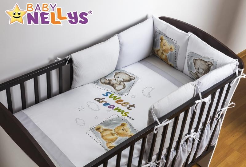 Baby Nellys Povlečení s polštářkovým mantinelem Sweet Dreams by TEDDY - šedý