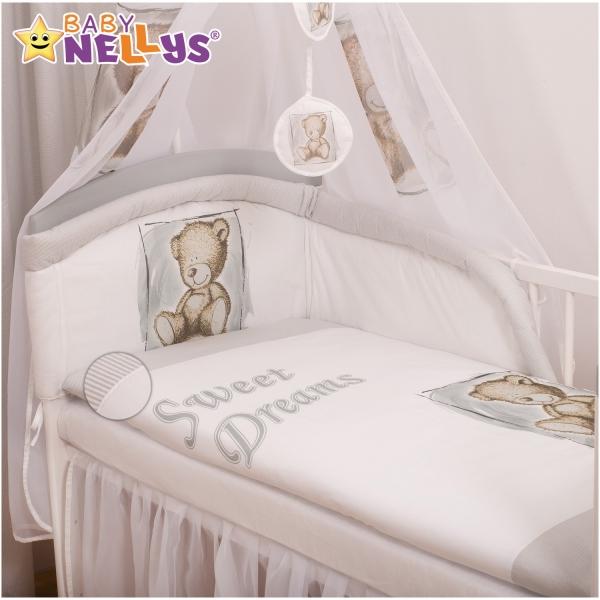 Baby Nellys Povlečení  Sweet Dreams by Teddy  - šedý/bílý
