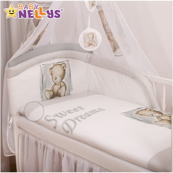 Povlečení Sweet Dreams by Teddy - šedý (rozměr povlečení 135x100cm, Baby Nellys)