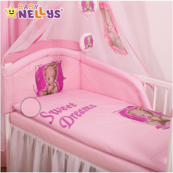 Povlečení Sweet Dreams by Teddy - růžový (rozměr povlečení 135x100cm, Baby Nellys)