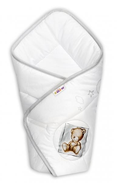 Novorozenecká zavinovačka, 75x75cm, bavlněná Sweet Dreams by Teddy - bílá/šedý lem