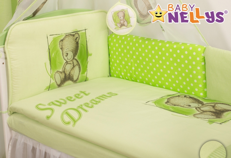 Mantinel 360cm s povlečením Sweet Dreams by Teddy - zelený