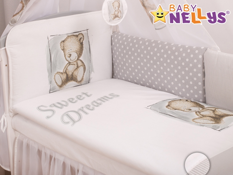 Baby Nellys Mantinel 360cm s povlečením Sweet Dreams by Teddy - šedý, Velikost: 135x100