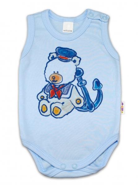 Body na ramínka Baby Nellys ® - Medvídek - námořník - modré - 80 (9-12m)