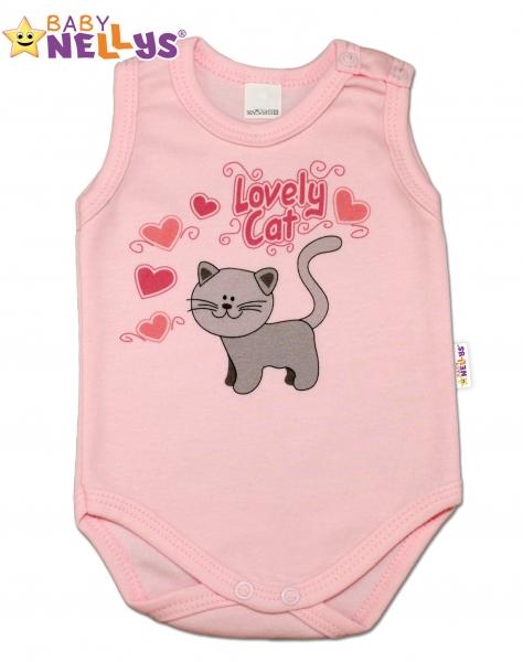 Body na ramínka  Baby Nellys ® - Roztomilá kočička - sv. růžové