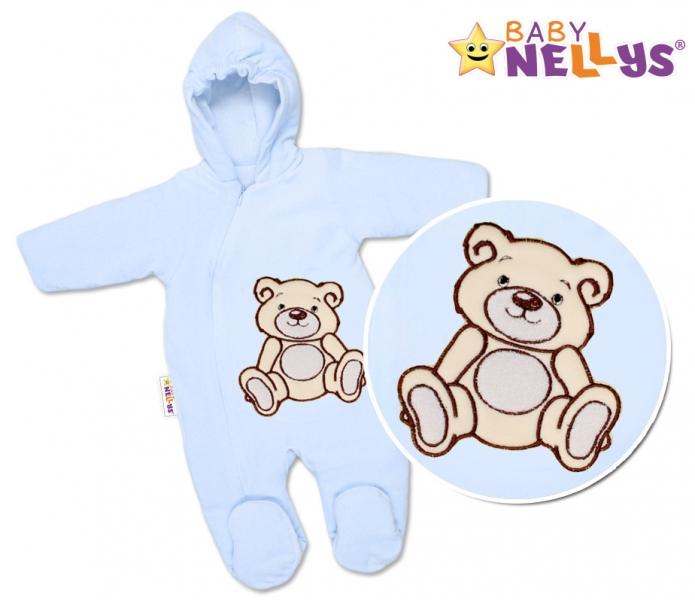 BABY NELLYS Kombinézka/overálek Teddy Bear  - sv. modrá