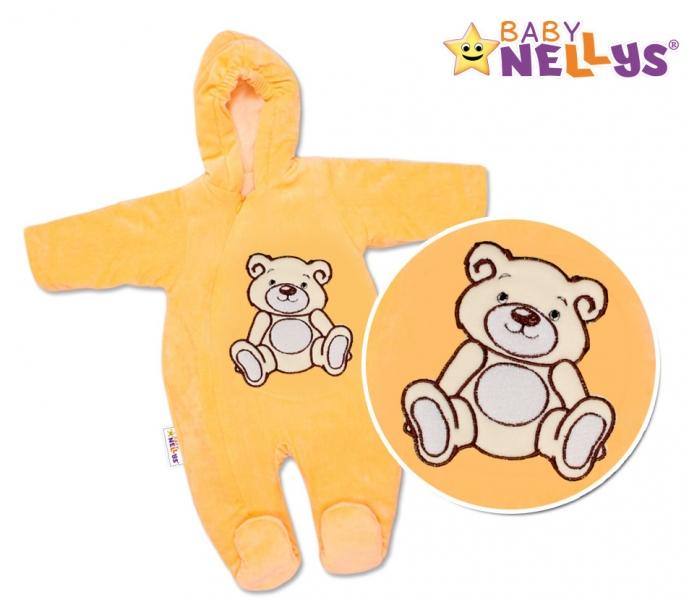 BABY NELLYS Kombinézka/overálek Teddy Bear - lososová
