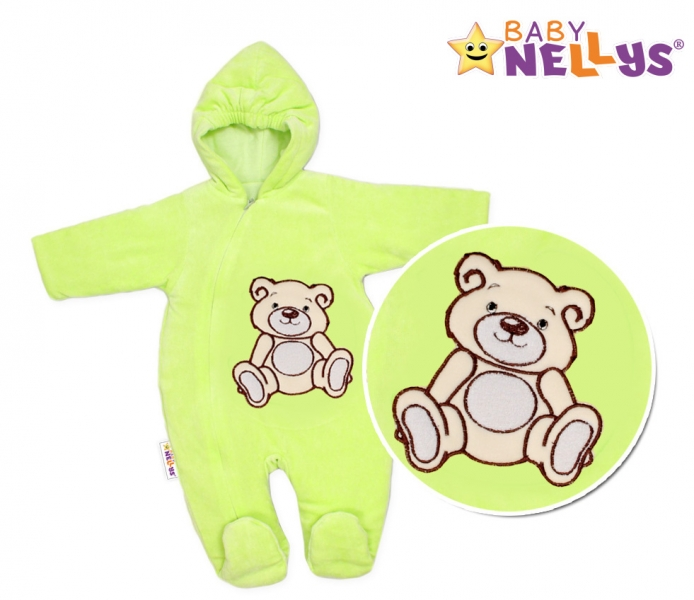 BABY NELLYS Kombinézka/overálek Teddy Bear- zelená