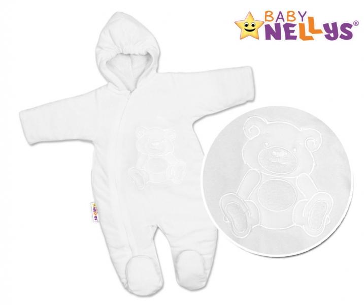BABY NELLYS Kombinézka/overálek Teddy Bear, velikost: 68 - bílá