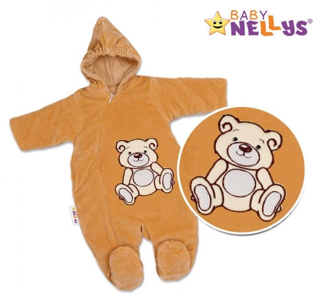 BABY NELLYS Kombinézka/overálek Teddy Bear, velikost: 68 - hnědá