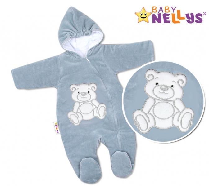 BABY NELLYS Kombinézka/overálek Teddy Bear, velikost: 74 - šedá