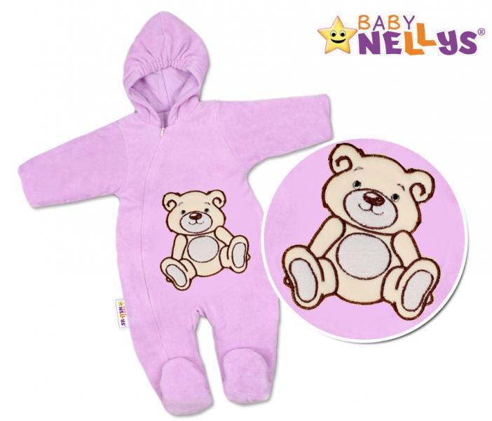 BABY NELLYS Kombinézka/overálek Teddy Bear, velikost: 74 - lila