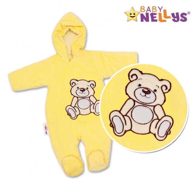 BABY NELLYS Kombinézka/overálek Teddy Bear, velikost: 74 - krémová, žlutá