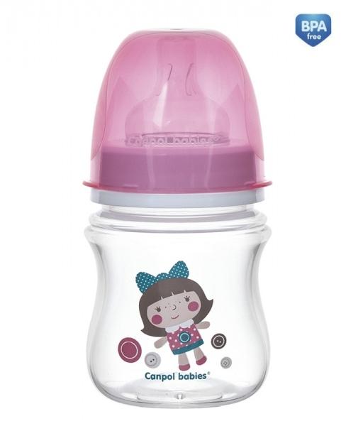 Antikoliková lahvička se širokým hrdlem Canpol Babies Easy Start - TOYS 120 ml - růžová