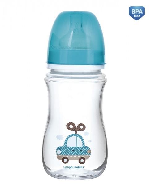 Antikoliková lahvička se širokým hrdlem Canpol Babies Easy Start - TOYS 240 ml - modrá