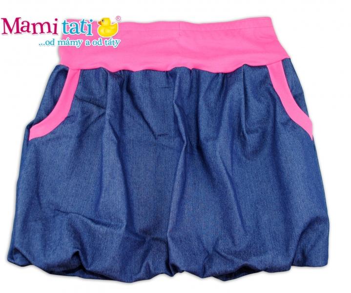 Balónová sukně NELLY  - jeans denim granát/ růžové lemy,vel. XL/XXL
