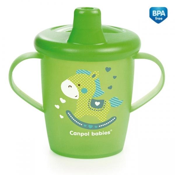 Nevylévací hrníček  Canpol Babies Anywayup TOYS - zelený, 250 ml