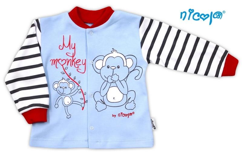 Bavlněná košilka Nicol Monkey - sv. modrá s opičkou, Velikost: 80 (9-12m)