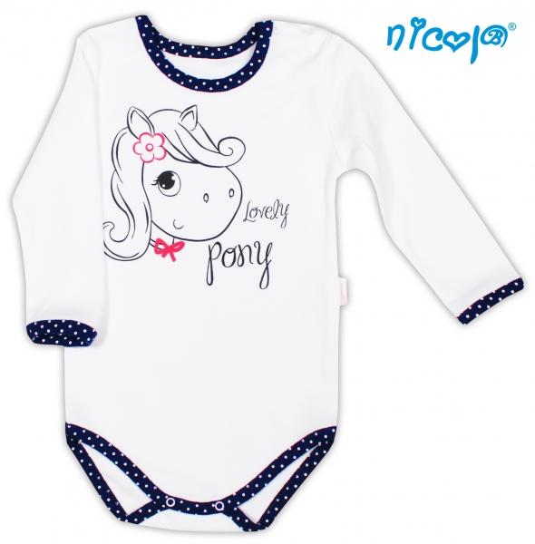 Bavlněné body NICOL LOVELY PONY dlouhý rukáv - Pony v bílém