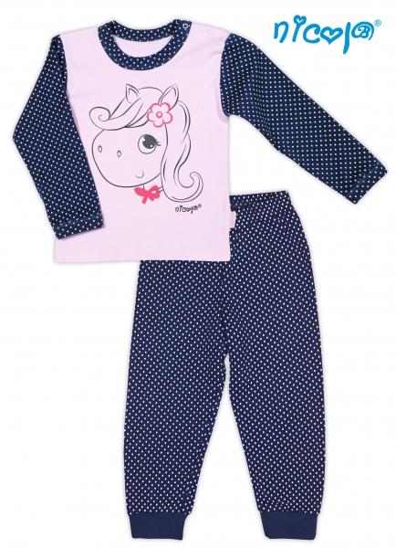 Bavlněné pyžamko NICOL LOVELY PONY- Pony v růžové/tm. modré, vel. 80, Velikost: 80 (9-12m)